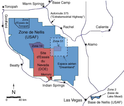 Carte de la zone 51 Nevada